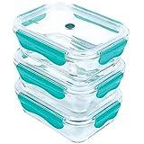 ICONIC Glas-Frischhaltedose Set für Lebensmittel mit Tritan-Deckel (1050 ml / 35 oz) (3er-Set)