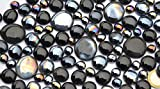 330 Gramm Dekosteine Glasnuggets Schwarzmix, in 3 versch. Größen 10-33 mm, ca.80 St. Nicht transparent, teilweise irisierend oder silbern schillernd - 2