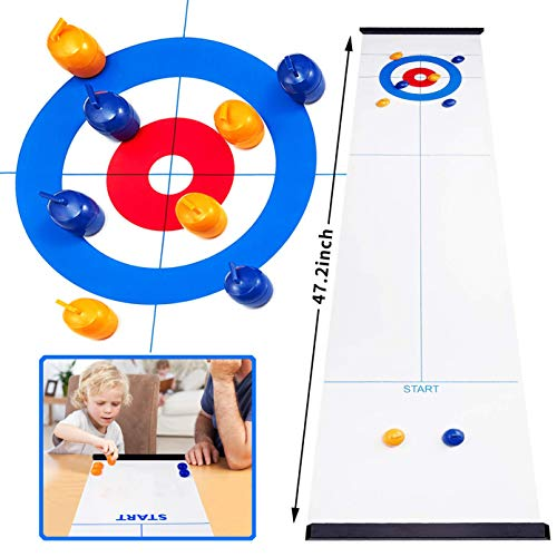 Sale!! KESSER Curling Board Game Table Top Compact Family Games Portable Mini Tabletop Games for Kid...