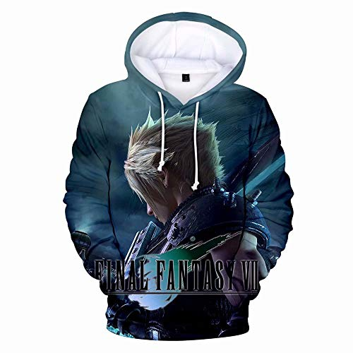 VOSTE Final Fantasy Costume Cloud Hoodie 3D Printed Pullover Sweatshirt for Unisex (Men-XL, Color 1)