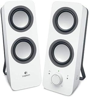 Logitech Z200 2.1 Lautsprecher mit Subwoofer, Surround Sound, 10 Watt Spitzenleistung, 2x 3,5 mm Eingänge, Lautstärken Regler, EU Stecker, PC/TV/Smartphone/Tablet   Snow White/weiß