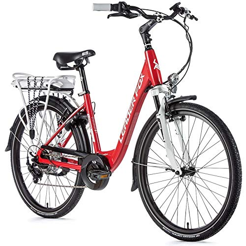 26 Zoll Leader Fox E Bike Damen Elektro Fahrrad 36V Pedelec Shimano 7 Gang rot Rh 48cm