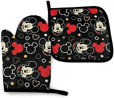 ZLCMMF Oven Mitts and Pot Holders Mickey Mouse Black Heat Resistant Kitchen Cooking Oven Gloves product image