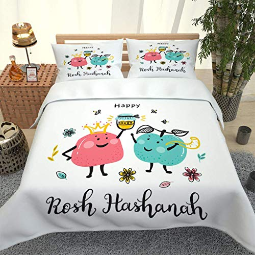 ANHHWW Duvet Cover Bedding Set, Cartoon Apple Creative Microfiber Durable Fade Resistant Fabric - 1 Quilt Cover+2 Pillowcases-Soft Hypoallergenic, Easy Care Printed Patterned Comforter Cover