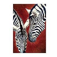 野生動物シマウマポスターキャンバス絵画ポスターとプリント壁アート写真スカンジナビアン寝室装飾ノーフレーム (Color : FB811, Size (Inch) : 40X50cm Unframed)