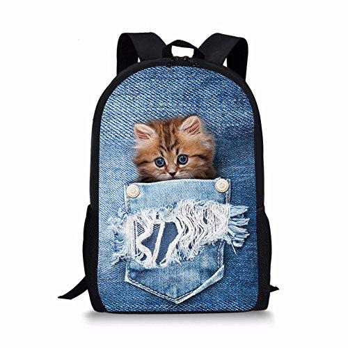Cozeyat 3D Cat Dog Print Designer Backpack 17 Inch Black Daypack School Bags for Boy Girls (cat5)
