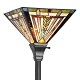 Cotoss Tiffany Floor Lamp Tiffany Torchiere Floor Lamp, 70 Inch Tall Lamps for Living Room, Standing Lamp, Stained Glass Floor Lamps, Floor Table 12' Wide