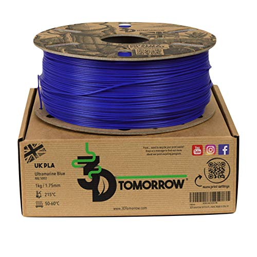 3DTomorrow UK PLA Filament - Ultramarine Blue - 1.75mm, 1kg, 100% Recyclable Cardboard Spool Eco Friendly 3D Printer Filament, Made in the UK