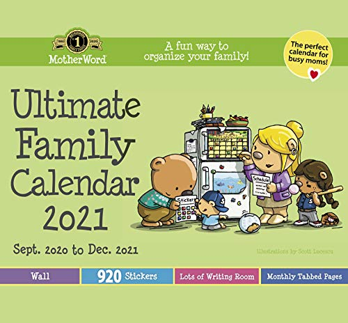 MotherWord Ultimate Family Wall Calendar, 16-Month, Sept 2020-Dec 2021, English, Tabbed Version, 12 x 21.5 Inches (DDTB112821)