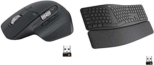 Logitech MX Master 3 Advanced Wireless Mouse - Graphite & Ergo K860 Wireless Ergonomic Keyboard with Wrist Rest - Split Ke...
