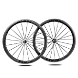40mm 700C Aero Carbono Bicicleta Carretera Rueda Clincher Tubeless Ready 25mm Novatec Buje 1495g