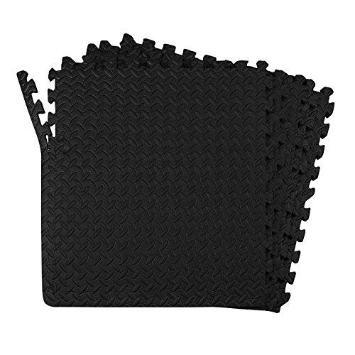 POCO DIVO 24-SQFT Dark Multi-Purpose Floor Mat Anti-Fatigue EVA Foam 6-Tile Interlocking Tile with 12-Border