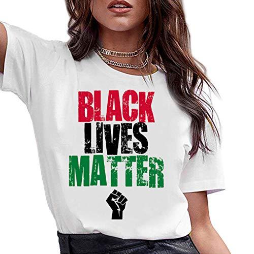 ZXMDP I Cant Breathe Verano de Cuello Redondo de algodón de Manga Corta Camiseta con Estampado del Alfabeto de Las Mujeres Ropa de Calle de Moda La Vida es Importante Tops al por Mayor Blanco S-3XL