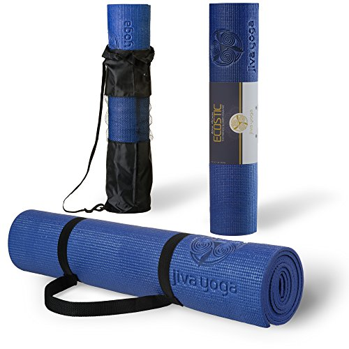 Jiva Yoga 1/4 Inch Thick Memory Foam Non-Slip Yoga Mats with Carrying Strap and Bag - Blue Ocean