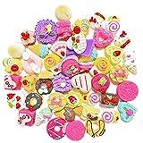 Juland 50 pezzi in miniatura casa delle bambole, ciambelle, torte per bambole, cucina, gelato, dessert Kawaii, simpatici ornamenti in resina per telefono, scrapbooking, fai da te, motivo casuale