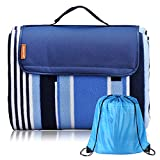 Michael Josh Large Outdoor Picnic Blanket, Waterproof Portable Picnic Mat, Soft Fleece Material Camping Tote Mat Great for Park, Hiking, Camping , Travelling (Blue, 68.89' X 59')