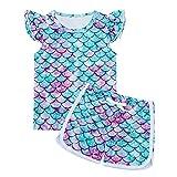 Lovekider Mädchen Sommerkleidung Set 2PCS Weiche Mode Elastischer Bund Kurzarm Hosen 3D Meerjungfrau Outfits Schule Sport Sommer Kinder Bekleidung 5 Jahre