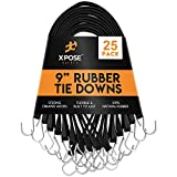 """Rubber Bungee Cords with Hooks 25 Pack 9 Inch (18"""" Max Stretch) Heavy-Duty Black Tie Down Straps for Outdoor, Tarp Covers, Canvas Canopies, Motorcycle, and Cargo - by Xpose Safety"""