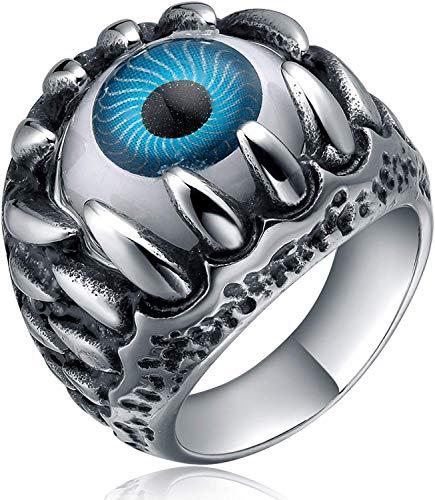 TIGRADE Men's Stainless Steel Gothic Skull Dragon Claw Evil Devil Eye Biker Ring, Blue Silver (9)