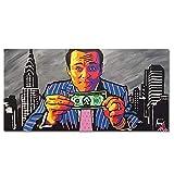 Xynfl Moderno Abstracto dólar Estadounidense Dinero Lienzo impresión Pintura sobre Lienzo Arte de la Pared Graffiti Cuadros Imagen para la decoración de la Sala de Estar 60x100cmx1 sin Marco