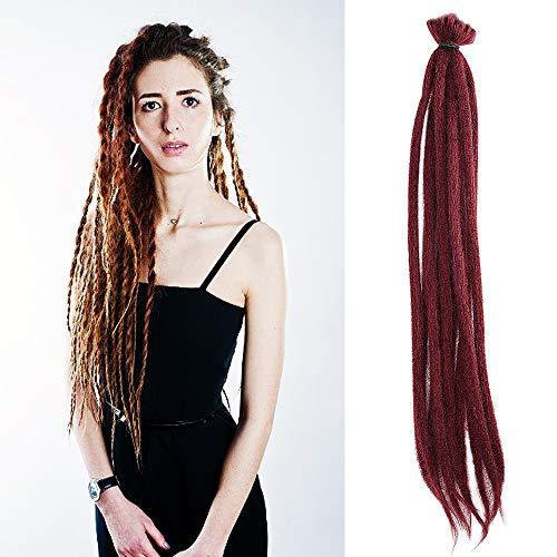 Noverlife 10 Strands 50cm/20' Burgundy Red Dreadlock Extensions, Single Ended Crochet Synthetic Dreadlocks Accessories, Jamaica Punk Hip-Hop Reggae Hair Braiding Wigs Faux Locs for Fashion Men Women