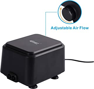 hygger Quietest Aquarium Air Pump, Adjustable Oxygen Pump 2 Air Outlets Ultra Silent Powerful Aerator Pump for 20-600 Gallon Fish Tank 255GPH/160GPH 10W/5W