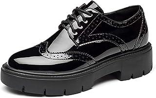 [GoldFlame-JP] 厚底靴 スニーカー レディース エナメル 厚底スニーカー オックスフォードシューズ ラウンドトゥ 白 黒 レースアップシューズ 防水 滑り止め おしゃれ 学生靴 通勤通学 歩きやすい