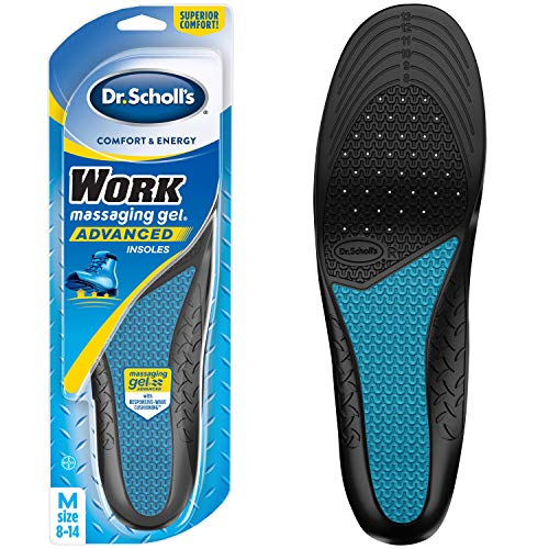 Dr. Scholl's WORK Massaging Gel Advanced Insoles (Men's 8-14) // All-Day Shock Absorption and Cushioning for Hard Surfaces (Packaging May Vary), 1 Count