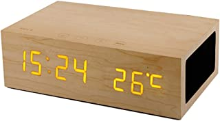 GLJJQMY Wooden Bluetooth Alarm Clock Speaker Call Hands-Free Function Sound Temperature Display Smart Touch Audio (Color : Oak)