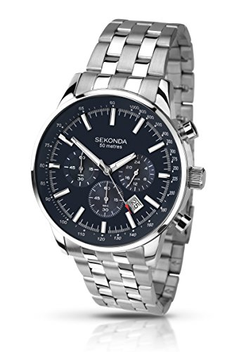 Sekonda Men's Quartz Watch with Dark Blue Dial Chronograph Display and Silver Stainless Steel Bracelet 1008