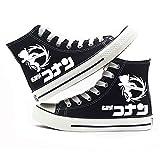 MLX-BUMU Serie De Impresión Zapatillas De Deporte Clásicas Zapatos De Lona Casual Cómodo Detective De Dibujos Animados Conan,Black,39