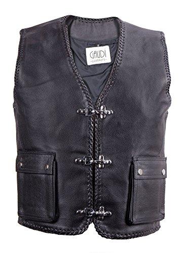 Gaudi-Leathers Herren Lederweste Kutte Clubweste 2 aufges. Taschen Rindleder XL