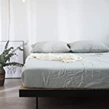 Fitted Bottom Sheet Only Ultra-Soft Fade Resistant,Washed Cotton Single Bed Cover, Solid Color Lattice Mattress, Suitable ...