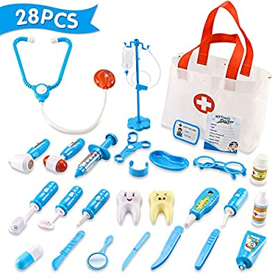 Qutasivary Doctor Kit for Kids, 28 Pcs Toddlers Doctor/Dentist Toys Pretend Play w/c Medical Bag, Xmas Gifts for Boys/Girls Ages 3+