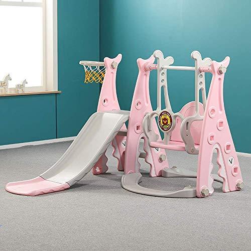 SANON Los niños se Deslizan casa Zona de Juegos Cubierta de Tres-en-uno la guardería de Diapositivas bebé al Aire Libre oscilación combinación de Juegos WTZ012 (Color : Pink)
