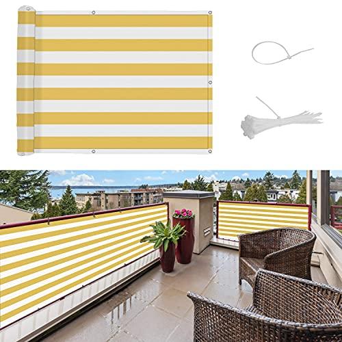 SUNNY GUARD Balkon Sichtschutz Balkonabdeckung HDPE UV-Schutz Windschutz Balkonverkleidung wetterfester mit Kabelbinder,90x500cm Gelb und Weiß
