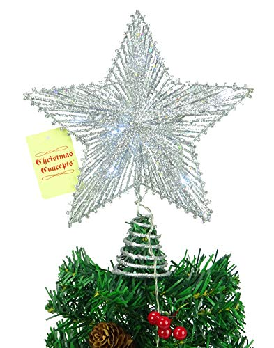 10' Springy Star With White Led Lights - Christmas Tree Top Star / Christmas Decoration