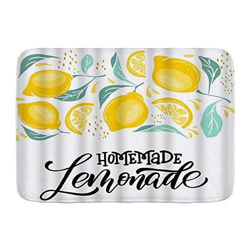 BCVHGD Alfombrillas para baño, Limonada Limón Palabra Casera Cepillo Caligrafía Naturaleza Vitamina,con Respaldo Antideslizante,29.5'X17.5'
