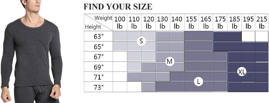 Warmfort Mens Ultra Soft Heavyweight Thermal Underwear,Mens Casual Cotton Top /& Bottom Fleece Lined Long Johns