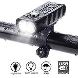 LED para Bicicleta, XMH Impermeable Faro de Bicicleta, Luz Bicicleta Delantera Led Foco Luces Bicicleta 2 * CREE XM-L2 LED con un Alcance Efectivo de 200 M (2 focos, 5000 Lúmenes) Negro