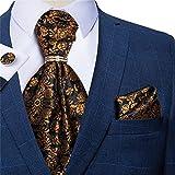 SKREOJF Pollo de la Corbata de los Hombres Pocket Square Gemelos Set Vintage Floral Silk Cravat Body Party Necktie (Color : Floral, Size : One Size)