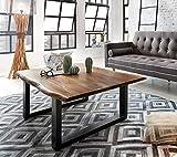 SAM Couchtisch 120x80 cm Quarto, Akazie nussbaum, echte Baumkante, massiver Sofatisch aus Akazienholz, Metallbeine schwarz, Baumkantentisch