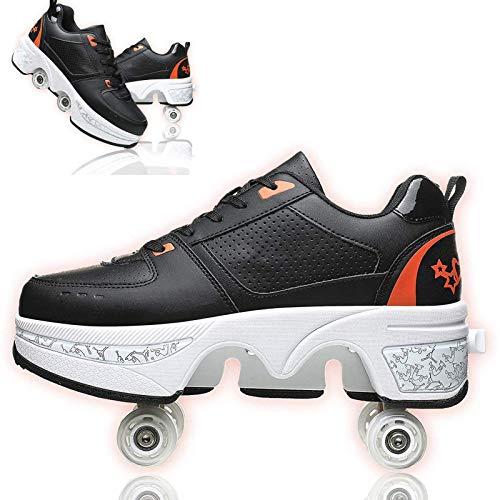 kyman Patines de Rodillos para Mujeres, Zapatos de Rodillo de Cuatro Ruedas 2 en 1 Patines de recreación al Aire Libre, Entrenador Deportivo para niños Chicas Ruedas Zapatos (Size : 42)