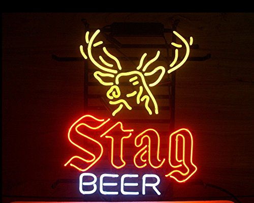 Stag Beer Real Glass Neon Sign Beer Bar Light Neon Sign For Store Beer Bar Pub Real Neon Light Real Glass Tube 19x15 The Fastest
