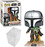 Funko Pop! Star Wars: The Mandalorian - Mandalorian Flying with The Child Bundle with 1 PopShield Pop Box Protector