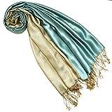 Lorenzo Cana Pashmina - Bufanda reversible para mujer, 70% seda, 30% viscosa, 70 x 190 cm, bicolor Color beige y azul. 70 x 190 cm