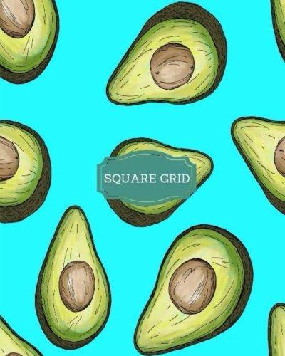 Square Grid: Avocado Theme Turquoise Background Square Grid Journal; Square Grid Notebook; 142 Pages; 8x10 Large; Math; Mathematics; Accounting; Finance (Squared Notebooks)