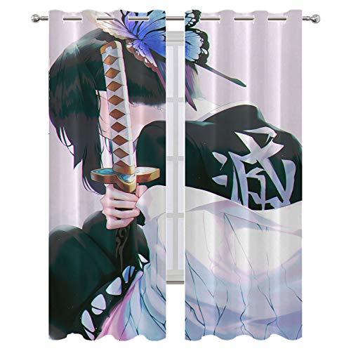 Cortinas opacas para sala de estar, dormitorio, anime demonios slayer Kochou Shinobu cortinas para sala de estar, habitación de los niños de 55 x 39 pulgadas
