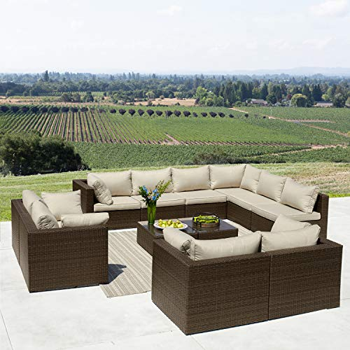 Supernova 12 Piece Outdoor Furniture Sets Wicker Rattan Sectional Sofa Set, Brown