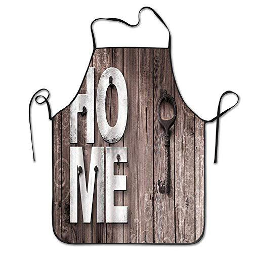 Not Applicable Taillen-Schlüssel zum Haus auf Holz-Schutzblech Unisexküchen-Schutzblech für das Kochen der Backen-Gartenarbeit-Reinigung